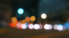 Busy big city defocused night traffic lights real camera bokeh blur - 4k - Asia Stock Footage