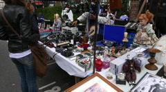Famous flee market on Portobello Road - stock footage