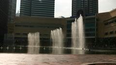Symphony Lake Singing Fountain, in idle mode, backlight, close up view Stock Footage