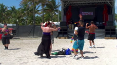 Beach dancing at the Miami Beach Gay Pride Festival Stock Footage