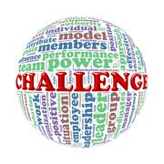 Wordcloud word tags ball of challenge Stock Illustration