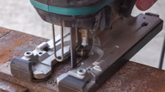 cutting metal workpiece - stock footage