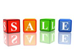 Sale in color cubes Stock Illustration