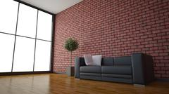 Side view of an interior rendering of a living room with textures and wirefra - stock illustration