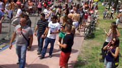 Crowd people at the Miami Beach Gay Pride Festival. Stock Footage