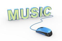 3d mouse attached to word text music Stock Illustration