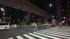 Busy Intersection And Crosswalk Tokyo Japan At Night Stock Footage