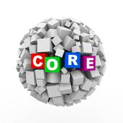 3d cubes boxes sphere ball - core Stock Illustration