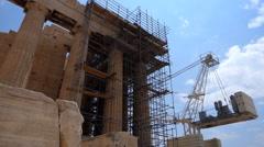Stock Video Footage of The Parthenon. Restoration underway
