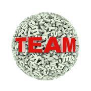 3d team - alphabet letter character sphere ball - stock illustration