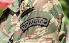 Chevron on the sleeve uniforms of the russian special forces Stock Photos