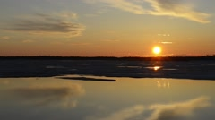 Sunset on the river in the spring Stock Footage