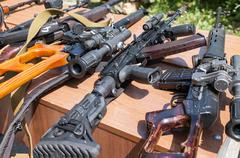 Russian weapons. Samples of Russian small arms Stock Photos
