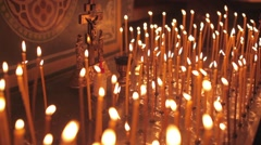 Group of candles in church Stock Footage