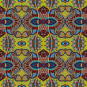 geometry vintage floral seamless pattern, ethnic style - stock illustration