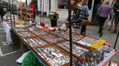 Flee market at Portobello Road Stock Footage