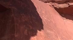 Petroglyphs on Atlatl rock Stock Footage
