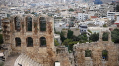 Odeon of Herodes Atticus, Modern Athens behind Stock Footage