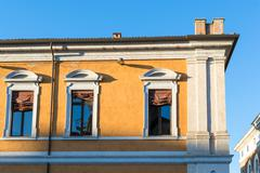 Ancient renaissance building in the downtown of Ferrara - stock photo