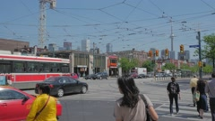 College Spadina Toronto CN Tower Intersection Streetcar Passing Medium Stock Footage