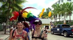 Participants of the Miami Beach Gay Pride Festival Parade. Stock Footage