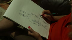 Drawing alien draw et extraterestrial 1 Stock Footage