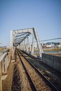 Train Tracks Over Bridge Stock Photos