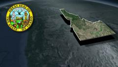 Idaho Seal and animation map Stock Footage