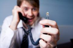 Disconnected telephone - stock photo