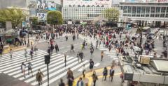 Tokyo Famous Busy Shibuya Crossing Time Lapse 4K Stock Footage