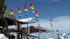 Big open air stage of the Miami Beach Gay Pride Festival. Stock Footage