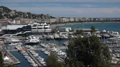 Cannes port and film festival building, France - stock footage