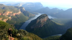 South Africa male Blyde River Canyon Mpumalanga escarpment Stock Footage