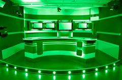 green television studio - stock photo