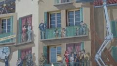 Film festival mural in Cannes old town, France, zoom out - stock footage