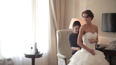 Lacing of a Wedding Dress Stock Footage
