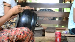 Burmese people carving Lacquerware Stock Footage