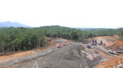 Rainforest in Borneo, Malaysia, destroyed for oil palm plantations. Stock Footage