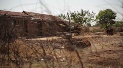 Village red mud house, India, medium shot, shallow DOF Stock Footage