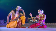 Traditional Indian dance performance on stage, depicting love story Stock Footage