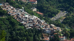 Timelapse View of Traffic Next to Favela (Shanty Town) in Rio de Janeiro, Brazil Stock Footage