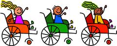 Disabled Wheelchair Kids Stock Illustration