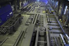 Assembly of metal structures in manufacturing shop floor, industrial Steels. Stock Photos