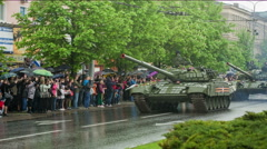 Tank on the Victory Parade Stock Footage