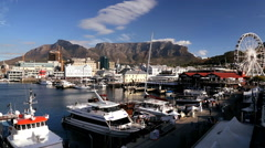 South Africa V A Waterfront Table Mountain Cape Town Stock Footage