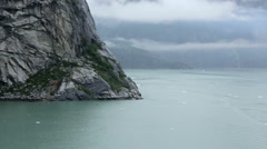 Alaska Fjord with Rock Cliffs and Mist Mountains Stock Footage