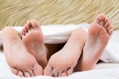 Feet hug - stock photo