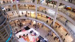 Suria hyper mall atrium hall interior, people walking on different levels Stock Footage