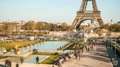 Eiffel Tower With Gardens Of The Trocadero Paris Stock Footage