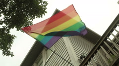 gay flag in wind waving homosexuality 2 - stock footage